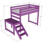 Кровать чердак из доски с двухуровневой лестницей